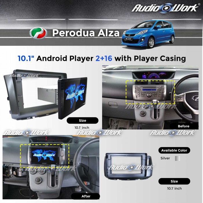 "Perodua Alza - 2RAM+16GB/IPS/2.5D/10.1""Android Player 6.0 with Player Casing"