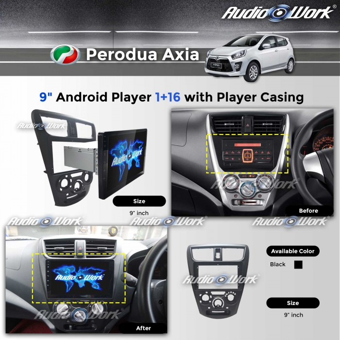 "Perodua Axia - 1RAM+16GB/IPS/2.5D/9""Android 6.0 Player with Player Casing"