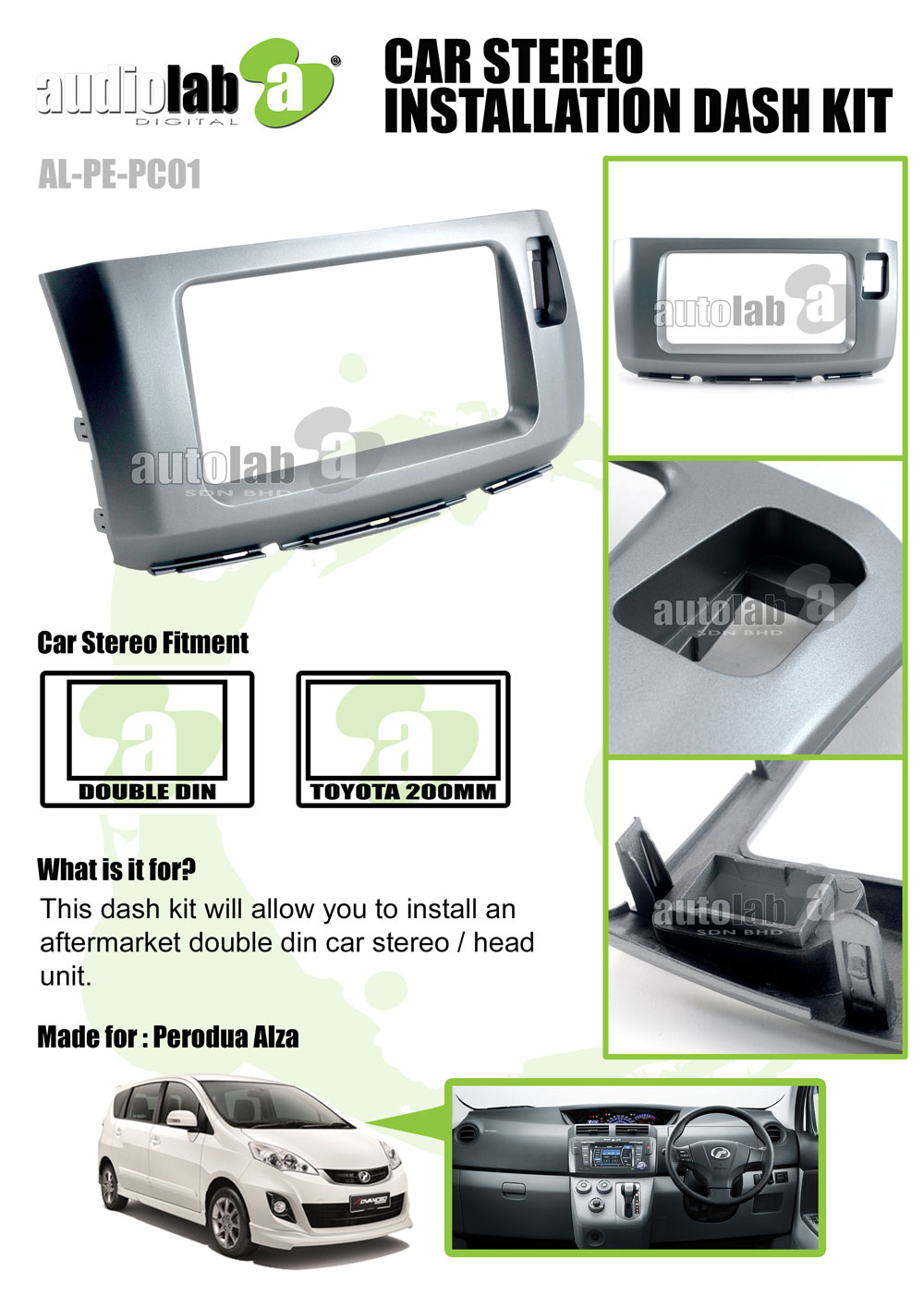 Perodua Alza Double Din 200mm Car Stereo Installation Dash Kit Toyota Single Radio Install Mount With Wiring Player Casing For